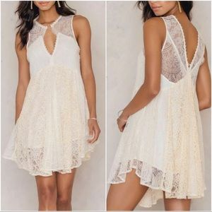 FREE PEOPLE Don't You Dare Lace Ivory Dress